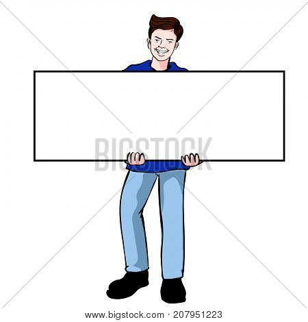 Man holding blank board holds a placard. The man holding a white poster isolated on white background. Vector Illustration.
