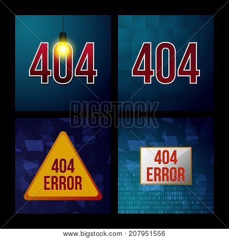 Set 404 error page not found isolated in black background