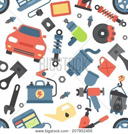 Car service parts flat vector illustration. Auto mechanic repair of machines and automobile equipment. Motor diagnostics vector illustration and technician transportation seamless pattern background