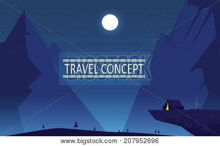 Night mountaing lanscape. Travel lifestyle, active vacation concept illustration. Easy to redit