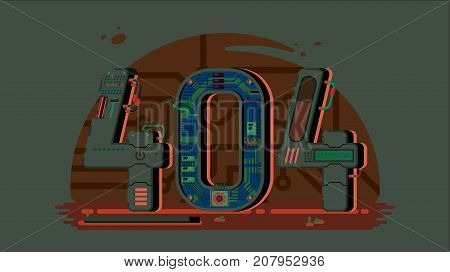 Page not found error 404 concept with robots and machinery. Web page error, illustration mechanical mechanism page error