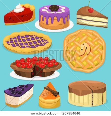 Birthday celebration cream cake pie vector illustration holidays food collection. Wedding or birthday cake sweet dessert homemade pie. Cream brownie topped pie isolated on white