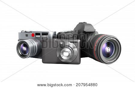 Photo Cameras Of Different Classes 3D Render On White No Shadow