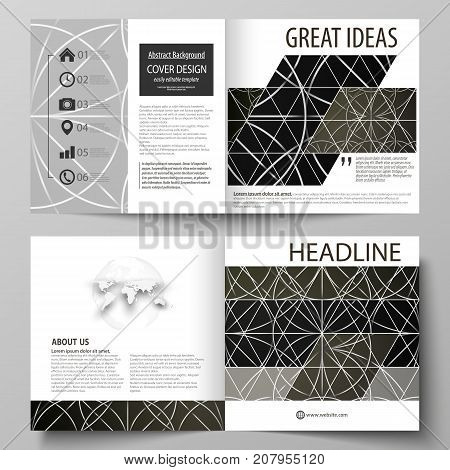 Business templates for square design bi fold brochure, magazine, flyer, booklet. Leaflet cover, vector layout. Celtic pattern. Abstract ornament, geometric vintage texture, medieval ethnic style