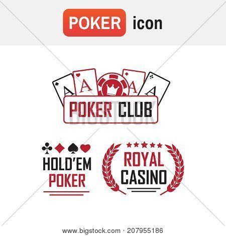 Logo Poker Casino. Poker Club And Casino Vector Sign Set