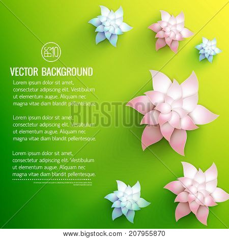 White floral decorations with pale pink and light blue shades on green yellow background vector illustration