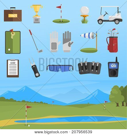 Vector set of stylized golf icons hobby car equipment and field. Collection cart player golf sport symbol flag hole game. Vector sign patch set bag hobby golfer car equipment.