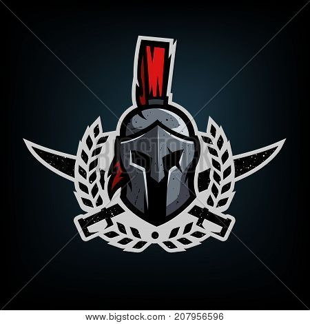 Wreath, swords and helmet of the Spartan warrior symbol, emblem.