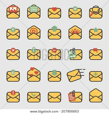 Email envelope cover icons vector communication set. Office correspondence blank cover address design. Paper empty card business writing message.