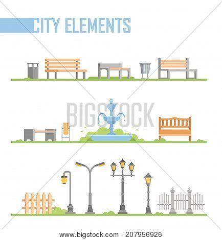 Set of city park elements - modern vector cartoon isolated illustration in flat design style on white background. Different benches, fountain, street lanterns, trash cans, fence, gates on a lawn