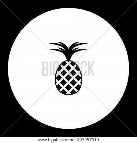 One Isolated Pineapple Simple Black Icon Eps10