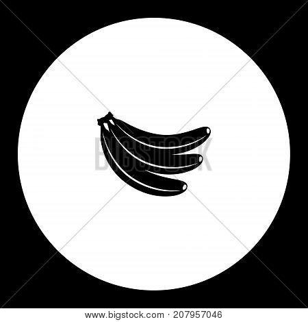 Three Bananas Fruit Simple Black Icon Eps10