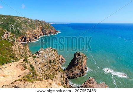 View from Cabo da Roca (Cape Roca) the westernmost point of Portugal and continental Europe
