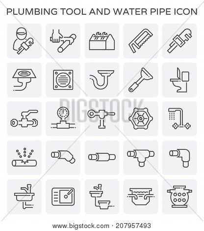 Vector line icon of plumbing tool and water pipe.