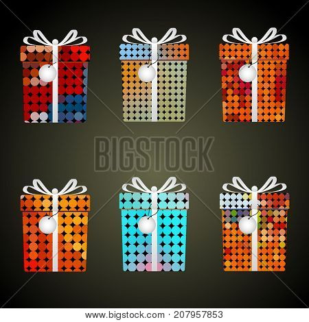 Colorful Dots Wrapping Paper Gifts With Ribbons And Tags Eps10