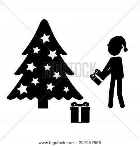 Man In Santa Hat Giving Gift Near Christmas Tree Eps10