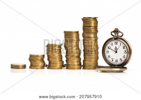 Pile Of Gold Coins And Stopwatch Isolated