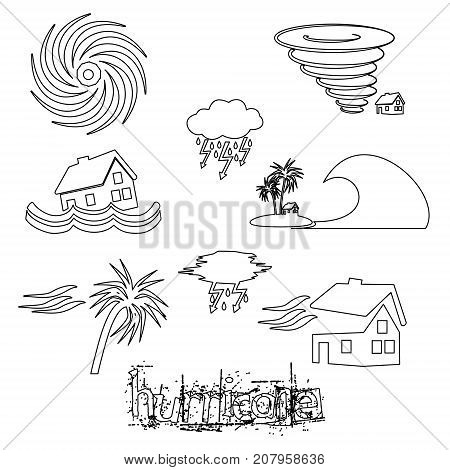 Hurricane Natural Disaster Problem Outline Icons Set Eps10