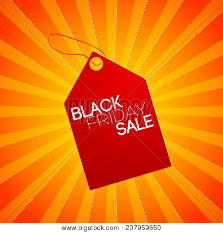 Striped composition of the Black friday with red tag at the center
