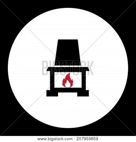 Fireplace With Red Flame Simple Black Icon Eps10