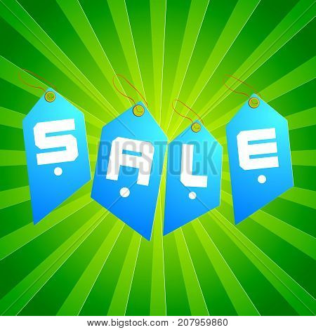 Light blue sale tag set in different shape combined in word sale on lime color background vector illustration