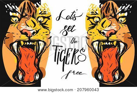 Hand drawn vector abstract graphic drawing of anger tigers faces in orange colors isolated on white background with handwritten calligraphy quote Lets set the tigers free.Animal rights concept.