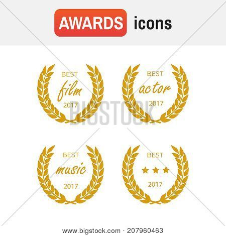 Set Of Awards For Best. Film Award Wreaths Isolated On The White Background