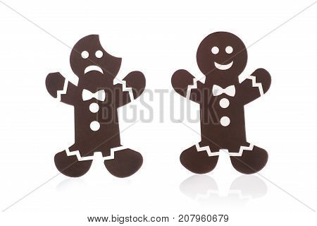 Sad And Cheerful Cookie Man Isolated