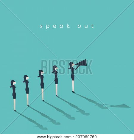 Business woman leader speaking with megaphone business vector concept. Woman leadership, emancipation, feminism, movement symbol. Eps10 vector illustration.