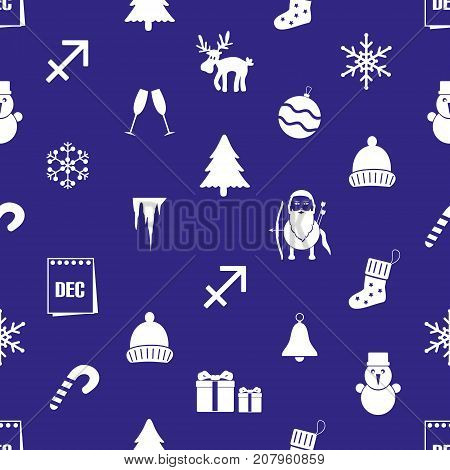 December Month Theme Set Of Icons Blue And White Seamless Pattern Eps10