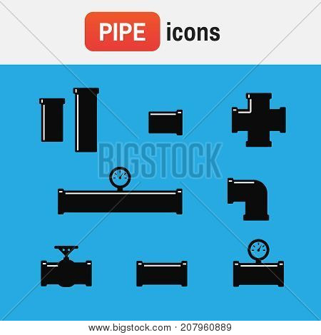 Pipeline Icon Pipe. Set Of Black Details Pipes
