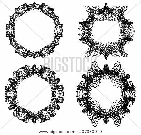 Guilloche secure elements. abstract circle frame set in black line design, filigree curly design elements, vector EPS 10