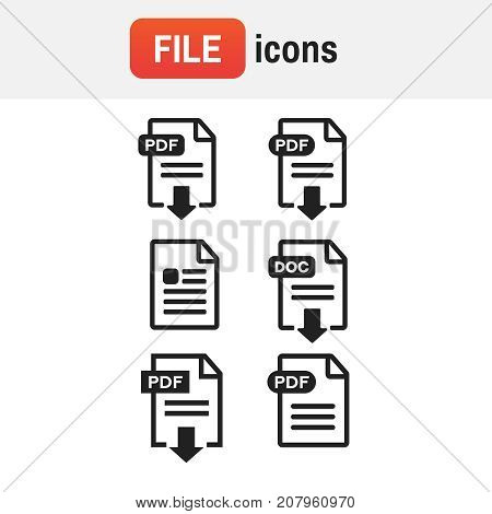 Document File Icon Set. File Icons Vector