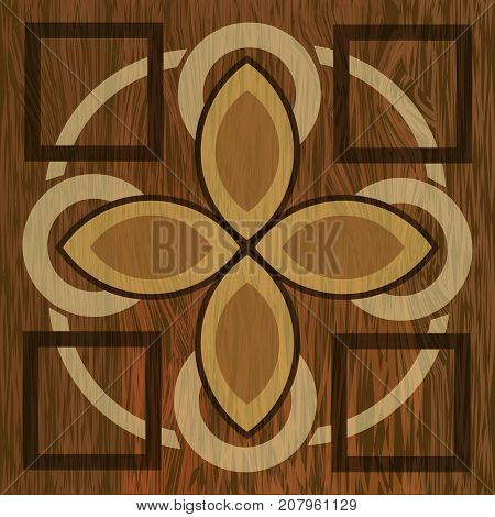 Wooden inlay, light and dark wood patterns. Wooden art decoration template. Veneer textured geometric elements, Vector EPS 10