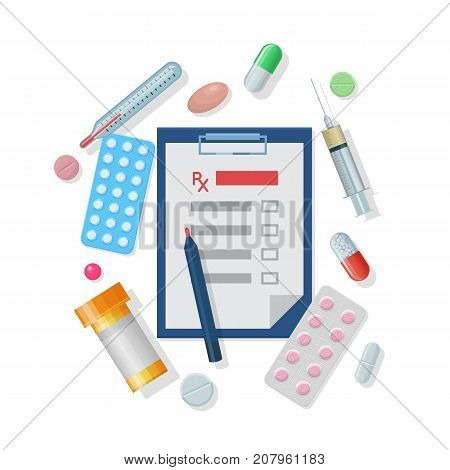 Medical supplies set cartoon style. Medical supplies set in cartoon style on a white background for designers and illustrators. Kit of an ambulance doctor in the form of a vector illustration
