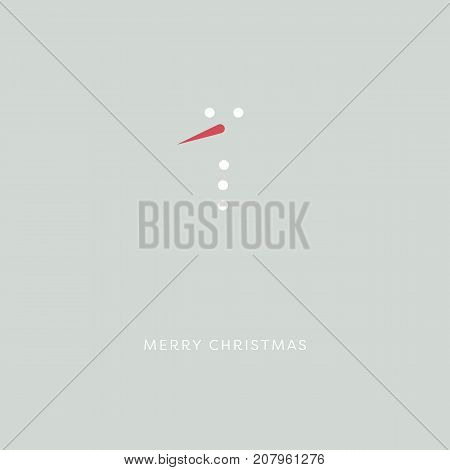 Merry christmas card template vector. Snowman with red carrot nose minimalistic creative symbol. Eps10 vector illustration.