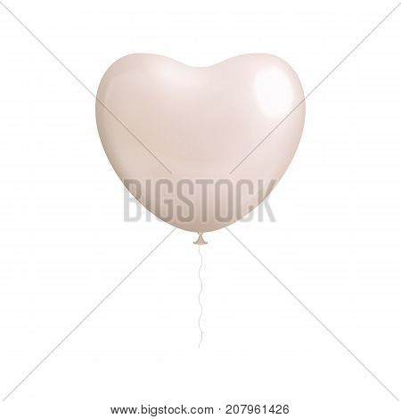 Heart shaped white balloon isolated. Heart shaped white balloon isolated on a white background for designers and illustrators. Ball in the form of a vector illustration