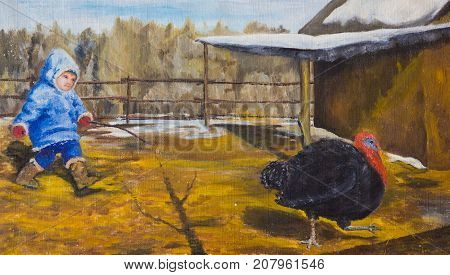 A child chasing a turkey around the yard