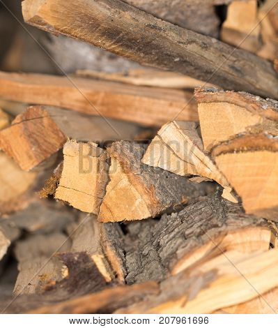 Firewood texture, after the sawing wood . Photo of abstract background