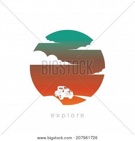 Car traveling freestyle independent traveler vector concept with old vintage pickup truck against sunset background. Symbol of freedom, wanderlust. Eps10 vector illustration.