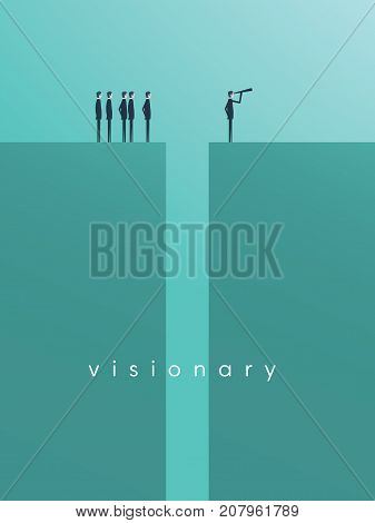 Business vision, strategy, success, leadership vector concept with businessman standing in front of team on the other side of gap with telescope. Eps10 vector illustration.