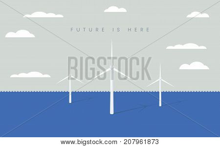 Offshore wind farm vector symbol with wind turbines. Symbol of renewable energy, electricity, power. Eps10 vector illustration.