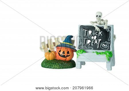 Halloween concept : Plastic human skeleton model ceramic pumpkins and dirty ceramic Trick or Treat sign isolated on white background