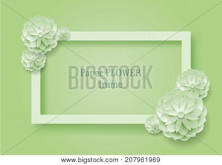 Paper flower rectangular frame grenn background. Paper flower rectangular frame on a green background. Set of color plants as a vector illustration