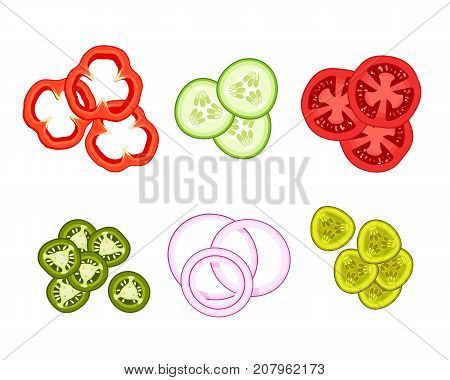 Set of ingredients for burger and salad. Sliced bulgarian bell pepper paprika cucumber tomato. Vector illustration cartoon flat icon isolated on white.