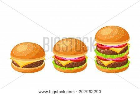 Set of burgers. Cheeseburger hamburger double. Vector illustration cartoon flat icon collection isolated on white.