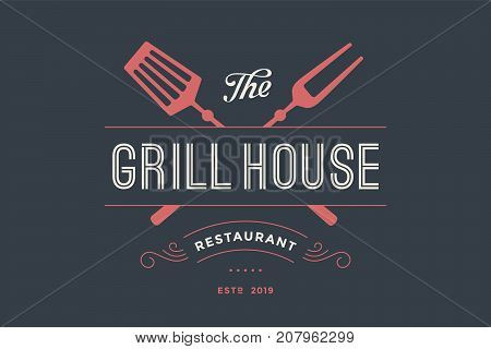 Logo of Grill House restaurant with grill fork, text Grill House, Restaurant. Graphic template for meat business - restaurant, bar, cafe, food court, design - menu, poster, label. Vector Illustration