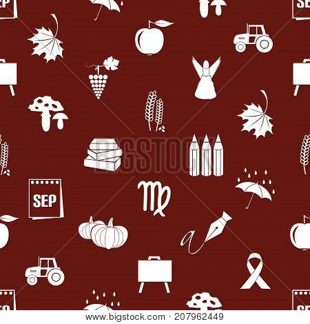 September Month Theme Set Of Icons Red Pattern Eps10