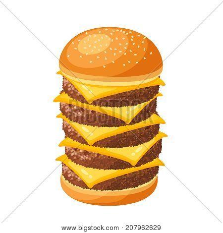 Hamburger mega burger. Vector illustration cartoon flat icon isolated on white.