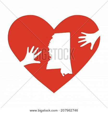 Vector Illustration: helping hands, heart, Mississippi map. Support for volunteer, charity or relief work after Hurricane Nate, floods, landfalls.